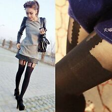 Woman Lady Black Fake Suspender MOCK Garter Sexy Pantyhose Opaques Tights