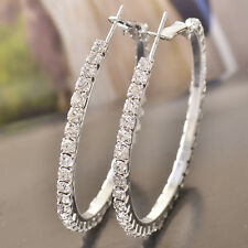 White 14K White Gold Filled Crystal 48mm BIg Large Hoop Earrings For Women