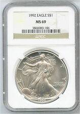 1992 $1 US American Silver Eagle NGC MS 69