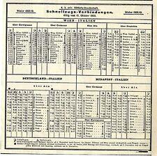 K. k. priv. Südbahn- Gesellschaft Schnellzugs- Verbindungen Winter 1909 / 1910