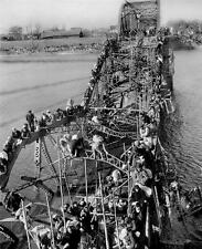 Photo. 1950. Pyongyang, North Korea. Masses of Refugees Crossing Bridge