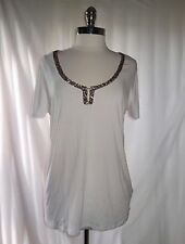 SOFT SURROUNDINGS Size L Shirt Top Ivory Brown Sequins Stretch