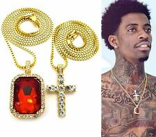 MENS ICED OUT HIP HOP GOLD MICRO CROSS & RED RUBY SQUARE PENDANT CHAIN NECKLACE