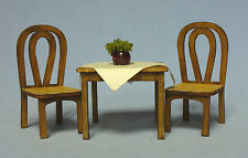 """1/2"""" scale Cafe Table and 2 chairs laser cut kit sdk miniatures LLC"""