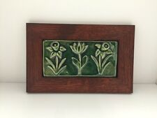 Spring Bloom Ceramic Handmade Emu Tile Framed Arts Crafts Mission Style Oak Park