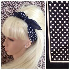 NAVY WHITE POLKA DOT PRINT COTTON BANDANA HEAD HAIR NECK SCARF 50s 60s RETRO
