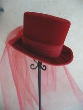 """GOTHIC BRIDE-RED VELVET TOP HAT- FULL LONG VEIL-M/L-22.5-23""""- 7 1/4-7 3/8"""