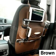 Brown Car Seat Back Bag Organizer Storage Tidy iPad Phone Holder Pocket Leather