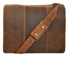 "Visconti 16019 Extra Large Oil Tan Leather Messenger Bag Holds up 17 "" Laptop"