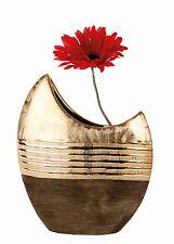 Moderne Deko Vase Blumenvase aus Keramik gold/braun Höhe 23 cm