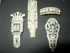 4 ART DECO KLEIDERCLIP BROSCHE DRESS CLIP BROOCH TOMBAK STRASS