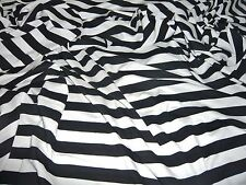COTTONSTRETCH JERSEY - 2 CMS STRIPE -WHITE/BLACK-DRESS FABRIC(FREEE P&P UK ONLY)