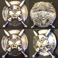 MK BARZ AND BULLION 5 tr/ oz SKULL And SWORD .999 Fine Silver HAND POURED