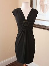 Cache Black Draped V-Neck Wiggle Dress Size 8 Casual Cocktail