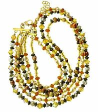 Multistrand Pearl Crystal Necklace 1x22 Golden Color