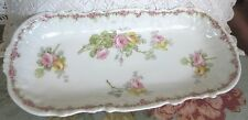 Antique Wm.Guerin &Co Limoges France China Celery Relish Dish Pink Yellow Roses
