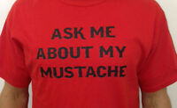 Ask Me About My Mustache Flip Up Flip Over Funny Men's Tee Shirt  5 COLORS 602
