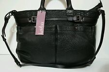 Kooba Kira Authentic Genuine Black Top Zip Satchel Crossbody Versatile Bag New