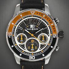 NEW Buech & Boilat 14111 Men's San Remo Cronograph Series Orange & Black Watch