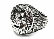 Custom Lion Heavy Sterling Silver Ring With Black Diamonds By Sacred Angels