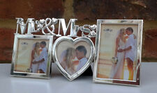 """Photo Frame Mr & Mrs Wedding Heart Multi Picture Silver Metal Fits 2.5x2.5"""" New"""