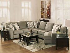 WARREN - 4pcs MODERN GRAY FABRIC SOFA COUCH SECTIONAL SET LIVING ROOM FURNITURE