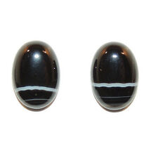 Black and White Agate 10x14mm with 4.5mm dome Cabochons Set of 2 (11762)