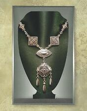 Art Nouveau Art Deco Silver Repousse Multi-Drop Pendant & Bead Necklace 3001
