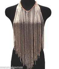 Ladies Backless Bib light Gold Color Glass Beads Beaded Necklace Vest