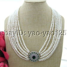 "S120109 22"" 8 Strands White Round Pearl Necklace CZ Pendant"