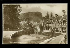 Wilts Wiltshire CASTLE COMBE The Bridge RP PPC early motorcycle & sidecar
