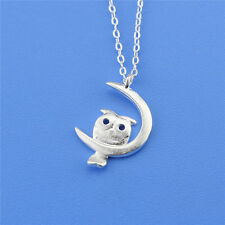 Sterling Silver 925 Cute Brushed Finish Owl on a Moon Pendant Chain Necklace