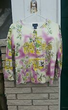 Eiffle Tower NY Collection cardigan sweater Ivory,Lilac,Mustard Toulouse sz.L