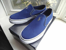New Ralph Lauren Polo Sport Navy Blue Canvas Mansheim Slip On Shoes size 7.5 D
