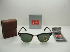 RAY-BAN FOLDING CLUBMASTER SUNGLASSES RB2176 901 BLACK FRAME/GREEN LENS 51MM