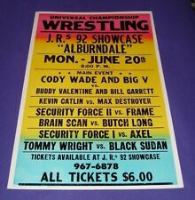 Pro Wrestling Arena Poster (Florida, 1990s) 17 x 26 Heavy Cardboard, Retro Style