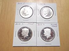 2015 P D S S Silver & Clad Proof Kennedy Half Dollar 4 Coin Lot Set