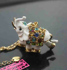 650W     New Betsey Johnson Crystal Enamel  Elephant Pendant Necklaces