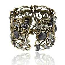 Vintage Bronze Resin Diamante Gem Hollow Carved Classic Cuff Bangle Bracelet