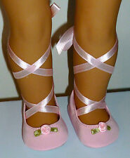 """Fits 18"""" Doll Clothes PINK BALLET DANCE SLIPPERS SHOES"""