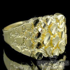 REAL 100% 10K YELLOW GOLD NEW DESIGNER MEN'S NUGGET PINKY RING BAND SZ 11 2.3G