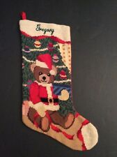 "Gregory Needlepoint Christmas Stocking Personalized Teddy Bear Tree 20"" Hand"