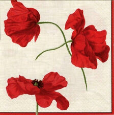 TWO (2) Red Poppies, Beige Background Cocktail Napkins for Paper Crafts