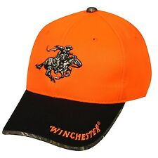 WINCHESTER LOGO BLAZE ORANGE REALTREE CAMO HAT CAP CAMOUFLAGE ADJUSTABLE SAFETY