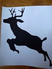 LEAPING DEER SILHOUETTE WAL ART DECAL STICKER 6cm X 8cm