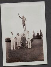 VINTAGE OLD 1930 PLYMOUTH ROCK MASSACHUSETTS INDIAN STATUE FLAPPER WOMEN PHOTO