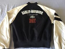 Harley Davidson Black Cream Bomber Varsity V Twin Embroidered Jacket Large Rare