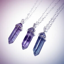 Fluorite Crystal Bullet Stone Necklace-Vintage Silver-Quartz Jewellery-Healing