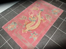 CHINESE DRAGON, PURE NEW ZEALAND WOOL RUG, ROSE PINK...6' x 4'...FREE DELIVERY