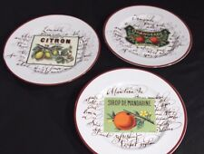 "WILLIAMS SONOMA 3 Harvest Market 8"" Dessert Appetizer Plates FRUIT Orange Lemon"